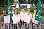 Pictured are former workers of BCD Travel who exclusively managed the travel for Kerry Group headquarters, Princes Quay, Tralee on Thursday, were l-r: Kenny Howe, John Casey (SIPTU) Madeline O'Shea, Marie Howe, Eddie Hanafin and Jacqueline Laide.