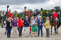 Team Belgium take 3rd place during the Prizegiving for the CCIO4*-S FEI Nations Cup Eventing. 2019 FRA-Le Grand Complet at Le Haras du Pin. Sunday 11 August. Copyright Photo: Libby Law Photography