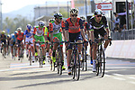 Riders cross the finish line of Stage 1 of the 100th edition of the Giro d'Italia 2017, running 206km from Alghero to Olbia, Sardinia, Italy. 4th May 2017.<br /> Picture: Eoin Clarke | Cyclefile<br /> <br /> <br /> All photos usage must carry mandatory copyright credit (&copy; Cyclefile | Eoin Clarke)<br /> <br /> All photos usage must carry mandatory copyright credit (&copy; Cyclefile | LaPresse)