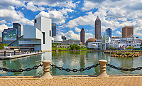 View of the Cleveland skyline with the Rock 'n' Roll Hall of Fame on the left