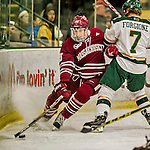 15 November 2015: University of Massachusetts Minuteman Defenseman Ivan Chukarov, a Freshman from Des Plaines, IL, in action against the University of Vermont Catamounts at Gutterson Fieldhouse in Burlington, Vermont. The Minutemen rallied from a three goal deficit to tie the game 3-3 in their Hockey East matchup. Mandatory Credit: Ed Wolfstein Photo *** RAW (NEF) Image File Available ***