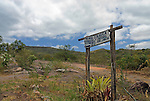 Parque Nacional de Chapada Diamantina, Lencois, Bahia, Brazil: Signpost leading the way to the guesthouse Pousada Ecologica. --- Info: In response to the growing ecotourism in 1985 the Chapada Diamantina National Park (Parque Nacional da Chapada Diamantina) was established as a 1520 sqkm national park approximately 400 kilometres inland from Salvador de Bahia. Today the Chapada Diamantina is recognized as one of Brazil top hiking and outdoor activities destinations. The National Park is a beautiful region comprising of table top mountains, gorges, waterfalls, huge caves and crystalline lakes and bathing pools. Lencois is the main access point to the Chapada Diamantina.
