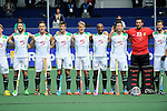 The Hague, Netherlands, June 03: Team of South Africa  line up prior to the match during the national anthem during the field hockey group match (Men - Group B) between South Africa and the Black Sticks of New Zealand on June 3, 2014 during the World Cup 2014 at GreenFields Stadium in The Hague, Netherlands. Final score 0:5 (0:3) (Photo by Dirk Markgraf / www.265-images.com) *** Local caption ***