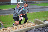 Swansea City's Jefferson Montero andTom Carroll walk to the pitch prior the Swansea City Training Session at The Fairwood Training Ground, in Swansea, Wales, UK. 02 August 2018
