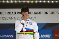 Gold medallist Portugal's Rui Costa<br /> Men's elite road race at the UCI Road World Championships in Florence September 29, 2013 <br /> Firenze 29/9/2013 <br /> Mondiali Ciclismo Strada Pro <br /> Foto Serlingen / Insidefoto