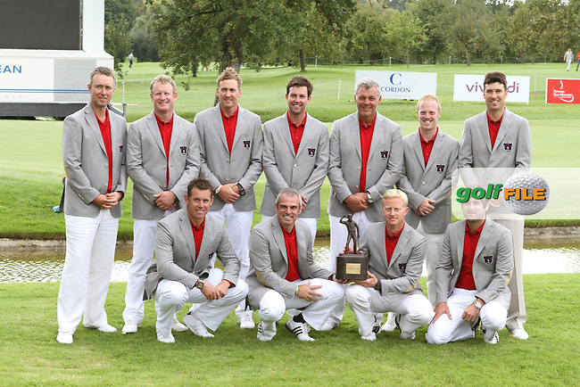 Team Great Britain and Ireland after they won the Trophy on the Final Day of the 2011 Vivendi Seve Trophy at Golf De Saint-Nom-La-Breteche, France...Photo Golffile/Jenny Matthews.(Photo credit should read Jenny Matthews www.golffile.ie)....This Picture has been sent you under the conditions enclosed by:.Newsfile Ltd..The Studio,.Millmount Abbey,.Drogheda,.Co Meath..Ireland..Tel: +353(0)41-9871240.Fax: +353(0)41-9871260.GSM: +353(0)86-2500958.email: pictures@newsfile.ie.www.newsfile.ie.