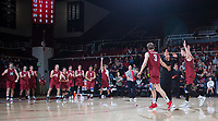 STANFORD, CA - March 2, 2019: Jordan Ewert, Paul Bischoff, Kyle Dagostino at Maples Pavilion. The Stanford Cardinal defeated BYU 25-20, 25-20, 22-25, 25-21.