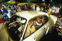 Supporters of Nelson Mandela celebrate his victory as the first black President of South Africa.   Millions of South Africans voted in the nation's first free and democratic general election,  marking the end of centuries of apartheid rule. .