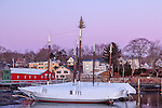 Christmas lights on Camden Harbor, Camden, ME, USA