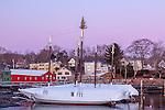 Christmas lights on Camden Harbor, Camden, ME, USA
