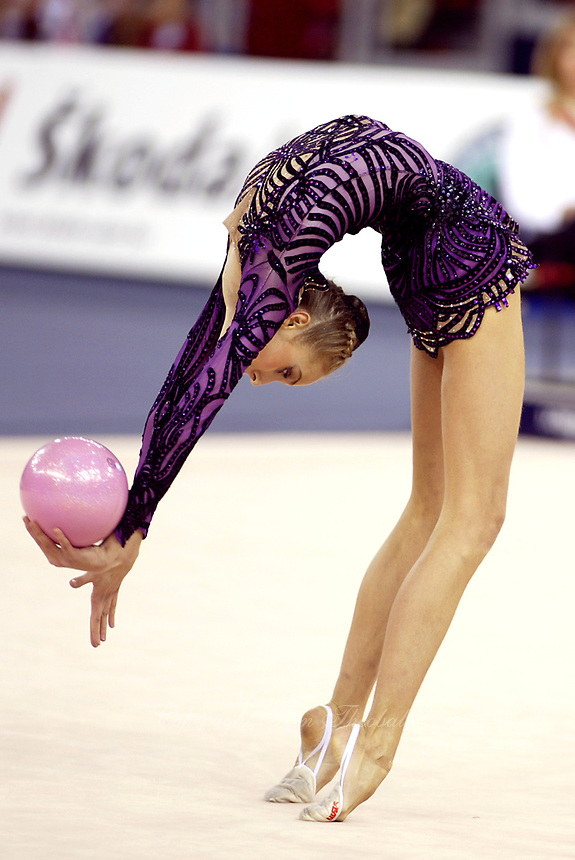 September 27, 2003; Budapest, Hungary; INNA ZHUKOVA of Belarus performs flexibility with ball at 2003 World Championships.