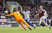 Cardiff City's Neil Etheridge looks to gather under pressure from Burnley's Ashley Barnes <br /> <br /> Photographer Rich Linley/CameraSport<br /> <br /> The Premier League - Saturday 13th April 2019 - Burnley v Cardiff City - Turf Moor - Burnley<br /> <br /> World Copyright © 2019 CameraSport. All rights reserved. 43 Linden Ave. Countesthorpe. Leicester. England. LE8 5PG - Tel: +44 (0) 116 277 4147 - admin@camerasport.com - www.camerasport.com