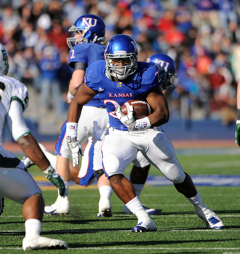 JAMES SIMS, of the Kansas Jayhawks, in action during Kansas game against the Baylor Bears on November 12, 2011 at memorial Stadium in Lawrence, KS. Baylor beat Kansas 31-30 (OT).