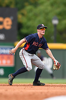Shortstop Marcus Mooney (2) of the Rome Braves plays defense in game one of a doubleheader against the Greenville Drive on Tuesday, May 30, 2017, at Fluor Field at the West End in Greenville, South Carolina. Rome won, 10-7. (Tom Priddy/Four Seam Images)
