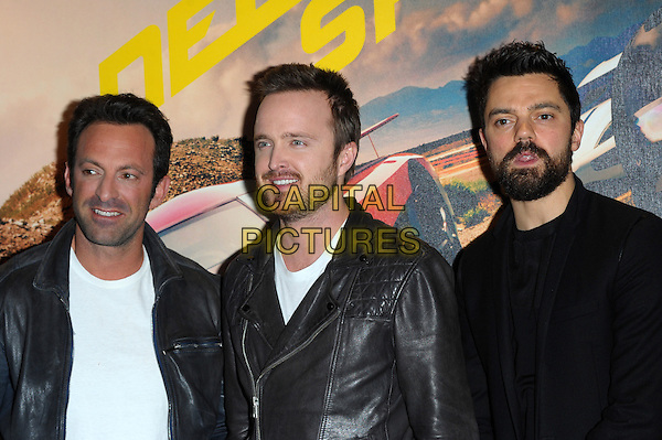 LONDON, UK - FEBRUARY 26 - Aaron Paul, Dominic Cooper and Director Scott Waugh attend and introduce a fan screening of their new film, Need For Speed, at the Odeon West End, Leicester Square, London on Wednesday, February 26, 2014. <br /> CAP/CJ<br /> &copy;Chris Joseph/Capital Pictures