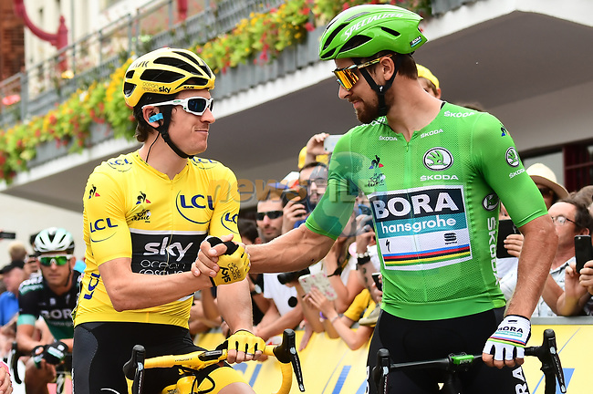 Race leader Yellow Jersey Geraint Thomas (WAL) Team Sky with Green Jersey Peter Sagan (SVK) Bora-Hansgrohe before the start of Stage 21 of the 2018 Tour de France running 116km from Houilles to Paris Champs-Elysees, France. 29th July 2018. <br /> Picture: ASO/Alex Broadway | Cyclefile<br /> All photos usage must carry mandatory copyright credit (© Cyclefile | ASO/Alex Broadway)