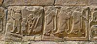 Pictures & Images Hittite relief sculpted orthostat panels of the Sphinx Gate. Left panel depicts jugglers next panel depicts a procession.  Alaca Hoyuk (Alacahoyuk) Hittite archaeological site  Alaca, Çorum Province, Turkey, Also known as Alacahüyük, Aladja-Hoyuk, Euyuk, or Evuk