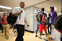 NWA Democrat-Gazette/DAVID GOTTSCHALK  Students pass through the renovated hallways of Agee Lierly Life Preparation campus during class change Wednesday, August 26, 2015  in Fayetteville. Renovations work in the classrooms, bathrooms and the cafeteria areas were ready for students returning to the alternative education center.