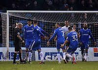 Gillingham players appeal for a penalty, but referee, Mr Andy Davies, awards a free-kick just outside the Peterborough United penalty area during Gillingham vs Peterborough United, Sky Bet EFL League 1 Football at the MEMS Priestfield Stadium on 10th February 2018