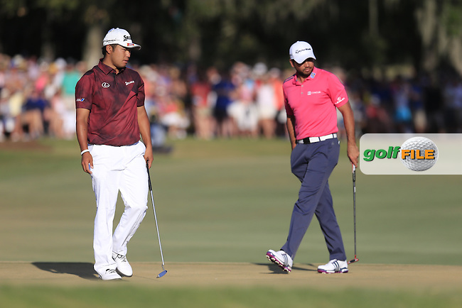 Hideki Matsuyama (JAP) and Jason Day (AUS) on the 18th during the final round of the Players, TPC Sawgrass, Championship Way, Ponte Vedra Beach, FL 32082, USA. 15/05/2016.<br /> Picture: Golffile | Fran Caffrey<br /> <br /> <br /> All photo usage must carry mandatory copyright credit (&copy; Golffile | Fran Caffrey)