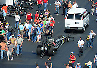 Apr. 14, 2012; Concord, NC, USA: NHRA top fuel dragster driver Bob Vandergriff Jr during qualifying for the Four Wide Nationals at zMax Dragway. Mandatory Credit: Mark J. Rebilas-