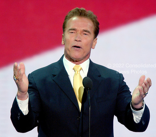 New York, NY - August 31, 2004 --  Governor Arnold Schwarzenegger (Republican of California) speaks at the 2004 Republican Convention in Madison Square Garden in New York on August 30, 2004..Credit: Ron Sachs / CNP.(RESTRICTION: No New York Metro or other Newspapers within a 75 mile radius of New York City)