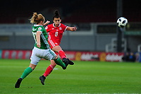 Angharad James of Wales has a shot during the UEFA Womens Euro Qualifier match between Wales and Northern Ireland at Rodney Parade in Newport, Wales, UK. Tuesday 03, September 2019