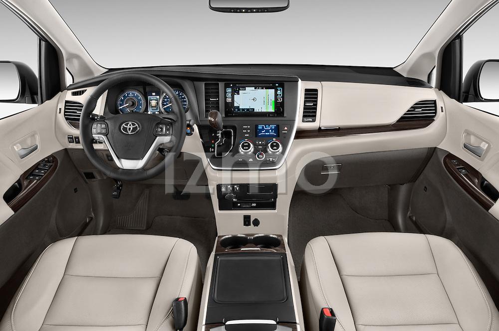Stock photo of straight dashboard view of2015 Toyota Sienna XLE V6 8-Passenger 5 Door Mini Van Dashboard
