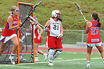 Redondo Beach, CA 05/14/11 - Heather Czech (Redondo Union #21) and Keaton Otake (Los Alamitos #27)in action during the 2011 US Lacrosse / CIF Southern Section Division 1 Girls Varsity Lacrosse Championship, Los Alamitos defeated Redondo Union 17-5.