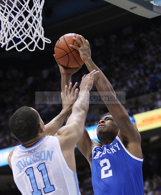 Kentucky Wildcats guard Aaron Harrison (2) goes in for a layup during the UK men's basketball vs. North Carolina at the Dean Smith Center in Chapel Hill, N.C., on Saturday, December 14, 2013. Photo by Emily Wuetcher | Staff