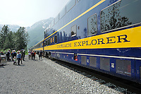 Visitors get off the train at Spencer Glacier. The Alaska Railroad's Spencer Glacier Whistlestop train gives visitors access to hiking, camping and stunning views.