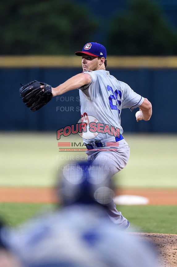 Chattanooga Lookouts pitcher Jeremy Kehrt (29) delivers a pitch during game three of the Southern League Championship Series against the Jacksonville Suns on September 12, 2014 at Bragan Field in Jacksonville, Florida.  Jacksonville defeated Chattanooga 6-1 to sweep three games to none.  (Mike Janes/Four Seam Images)