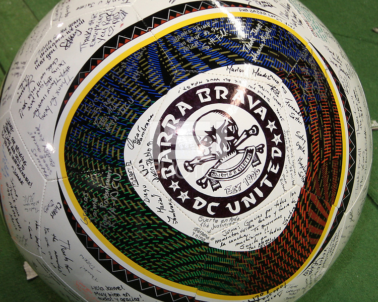 Huge ball to be presented to Jaime signed by the Barra Brava during festivities surrounding the final appearance of Jaime Moreno in a D.C. United uniform, at RFK Stadium, in Washington D.C. on October 23, 2010. Toronto won 3-2.