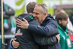 13.04.2019, Weser Stadion, Bremen, GER, 1.FBL, Werder Bremen vs SC Freiburg, <br /> <br /> DFL REGULATIONS PROHIBIT ANY USE OF PHOTOGRAPHS AS IMAGE SEQUENCES AND/OR QUASI-VIDEO.<br /> <br />  im Bild<br /> Florian Kohfeldt (Trainer SV Werder Bremen)<br /> Christian Streich (Trainer SC Freiburg)<br /> <br /> <br /> Foto © nordphoto / Kokenge