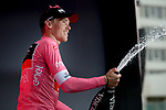 Race leader Rohan Dennis (AUS) BMC Racing Team retains the Maglia Rosa at the end of Stage 3 of the 101st edition of the Giro d'Italia 2018 running 229km flat stage from Be'er Sheva to Eilat is the last in Israel. 6th May 2018.<br /> Picture: LaPresse/Marco Alpozzi | Cyclefile<br /> <br /> <br /> All photos usage must carry mandatory copyright credit (&copy; Cyclefile | LaPresse/Marco Alpozzi)