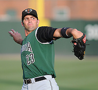 Outfielder Devin Harris (23) of the Augusta GreenJackets, Class A affiliate of the San Francisco Giants, prior to a game against the Greenville Drive on August 27, 2011, at Fluor Field at the West End in Greenville, South Carolina. Greenville defeated Augusta, 10-4. (Tom Priddy/Four Seam Images)