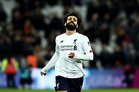 29th January 2020; London Stadium, London, England; English Premier League Football, West Ham United versus Liverpool; Mohamed Salah of Liverpool reacts as Liverpool win 0-2