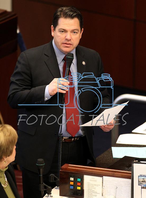Nevada Sen. Michael Roberson, R-Las Vegas, speaks on the Senate floor at the Legislature in Carson City, Nev., on Thursday, March 17, 2011..Photo by Cathleen Allison