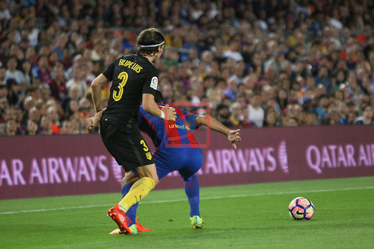League Santander 2016/2017. Game: 5.<br /> FC Barcelona vs Atletico de Madrid: 1-1.<br /> Filipe Luis vs Arda Turan.