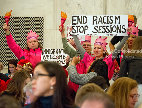 Code Pink protestors prior to the United States Senate Judiciary Committee confirmation hearing on the nomination of US Senator Jeff Sessions (Republican of Alabama) to be Attorney General of the United States on Capitol Hill in Washington, DC on Tuesday, January 10, 2017.<br /> Credit: Ron Sachs / CNP