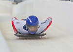 9 January 2016: Dominic Edward Parsons, competing for the United Kingdom, crosses the finish line on his second run of the day during the BMW IBSF World Cup Skeleton Championships at the Olympic Sports Track in Lake Placid, New York, USA. Parsons ended the day with a combined 2-run time of 1:50.31 and a 7th place overall finish. Mandatory Credit: Ed Wolfstein Photo *** RAW (NEF) Image File Available ***