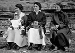 Erie PA: Sarah and Helen Stewart with Sarah sister and mother on the Lake Erie shore - 1917