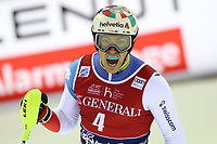 January 8th 2020, Madonna di Campiglio, Italy; FIS Alpine Ski World Cup Men's Night Slalom in Madonna di Campiglio, Italy on January 8, 2020,<br /> Daniel Yule (SUI) celebrates at the finish