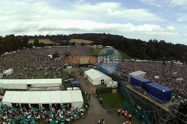 A view from the Top of Slane Castle of the 80,000 crowd at the U2 concert in Slane Castle..Pic Fran Caffrey Newsfile..Newsfile Ltd.The View.Millmount Abbey,.Drogheda,.Co Meath,.Ireland..Tel: +353(0)41-9871240.Fax: +353(0)41-9871260.ISDN: +353(0)41-9871010.email: newsfile@eircom.net.www.newsfile.ie..Mob 086-2500958.Mob 086-8144116