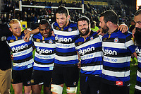 Bath Rugby players are all smiles in a post-match huddle. Aviva Premiership match, between Bath Rugby and Sale Sharks on October 7, 2016 at the Recreation Ground in Bath, England. Photo by: Patrick Khachfe / Onside Images