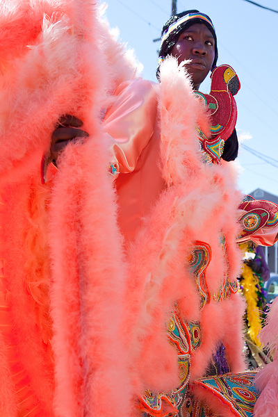 A member of the 7th Ward Creole Hunters, in the Treme neighborhood of New Orleans on Mardi Gras day, February 16, 2010.