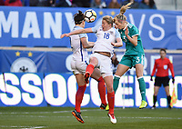 Harrison, N.J. - Sunday March 04, 2018: White, Kathrin Hendrich during a 2018 SheBelieves Cup match between the women's national teams of the Germany (GER) and England (ENG) at Red Bull Arena.