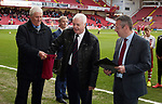 Ex-Referee Keith Hacket and Glyn Youdan make the draw for the Youdan Trophy at Bramall Lane in Sheffield. Photo by Glenn Ashley.