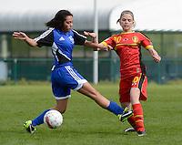 U 15 Belgian Red Flames - Virginia USA :<br /> <br /> Duel tussenYenthe Kerckhofs (R) en Jessica Escobar (L))<br /> <br /> foto Dirk Vuylsteke / Nikonpro.be