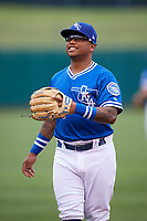 Oklahoma City Dodgers second baseman Willie Calhoun (4) during warmups before a game against the Colorado Springs Sky Sox on June 2, 2017 at Chickasaw Bricktown Ballpark in Oklahoma City, Oklahoma.  Colorado Springs defeated Oklahoma City 1-0 in ten innings.  (Mike Janes/Four Seam Images)